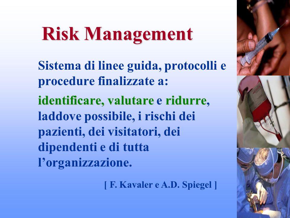 Risk Management Sistema di linee guida, protocolli e procedure finalizzate a: identificare,valutareridurre identificare, valutare e ridurre, laddove p