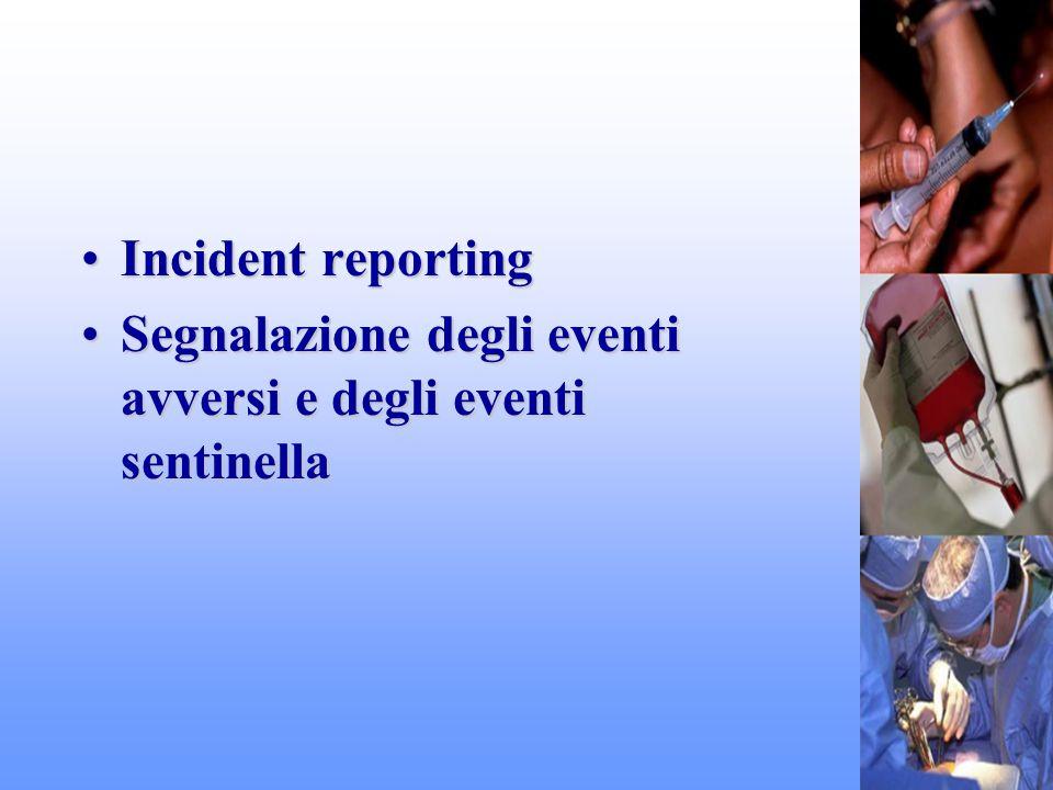 Incident reportingIncident reporting Segnalazione degli eventi avversi e degli eventi sentinellaSegnalazione degli eventi avversi e degli eventi senti