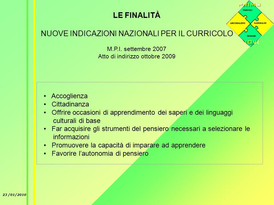 23 /01/2010 LE FINALITÀ NUOVE INDICAZIONI NAZIONALI PER IL CURRICOLO M.P.I.