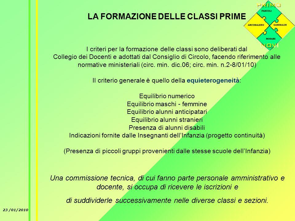 23 /01/2010 LA FORMAZIONE DELLE CLASSI PRIME I criteri per la formazione delle classi sono deliberati dal Collegio dei Docenti e adottati dal Consiglio di Circolo, facendo riferimento alle normative ministeriali (circ.