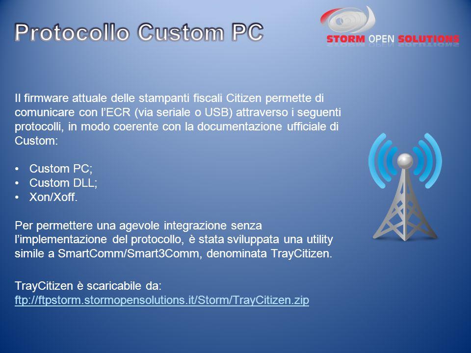 Il firmware attuale delle stampanti fiscali Citizen permette di comunicare con l'ECR (via seriale o USB) attraverso i seguenti protocolli, in modo coe