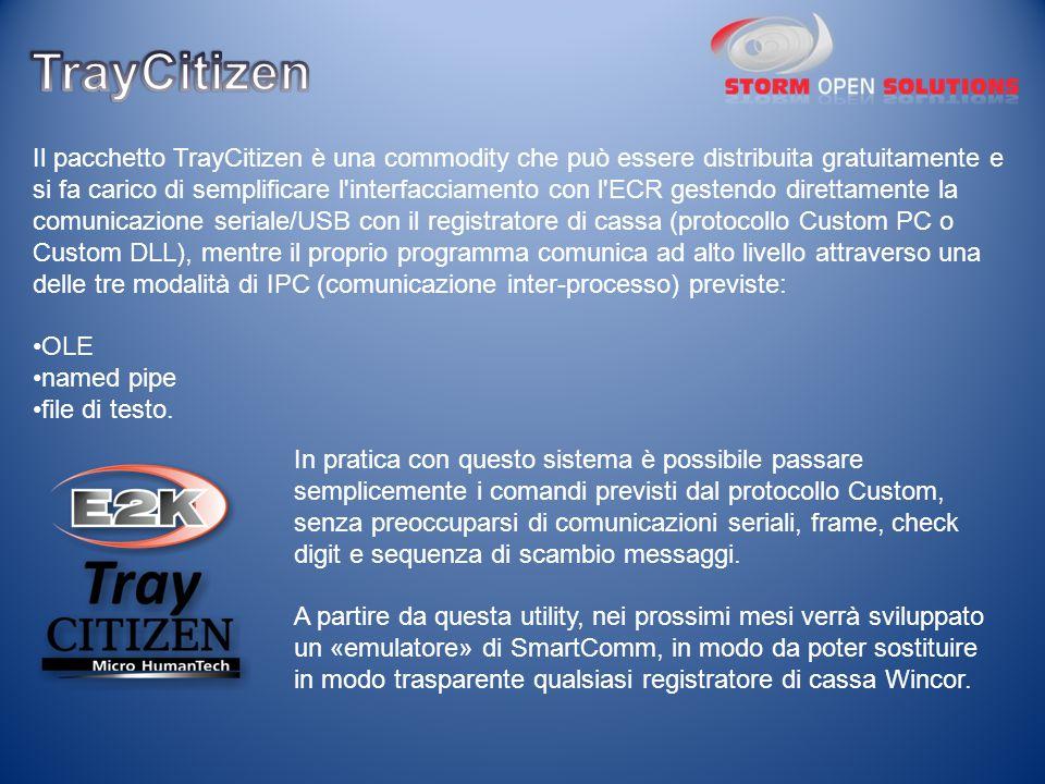 Il pacchetto TrayCitizen è una commodity che può essere distribuita gratuitamente e si fa carico di semplificare l'interfacciamento con l'ECR gestendo