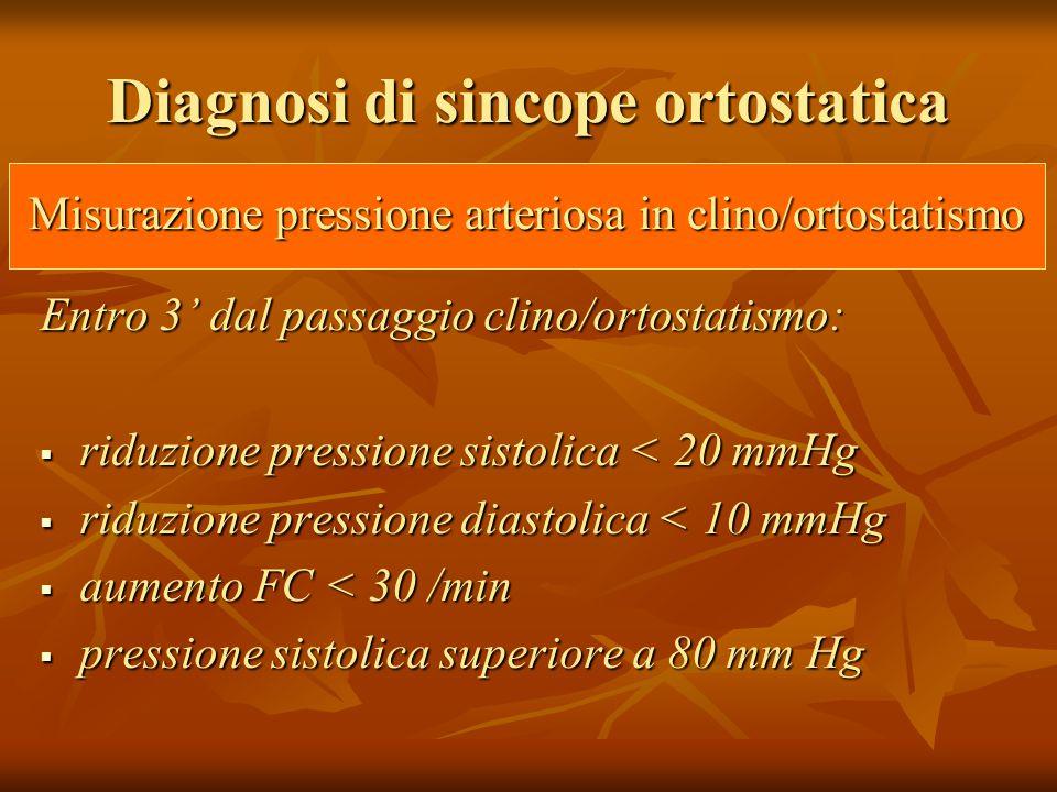 Diagnosi di sincope ortostatica Entro 3' dal passaggio clino/ortostatismo:  riduzione pressione sistolica < 20 mmHg  riduzione pressione diastolica < 10 mmHg  aumento FC < 30 /min  pressione sistolica superiore a 80 mm Hg Misurazione pressione arteriosa in clino/ortostatismo