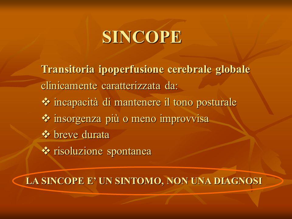 SINCOPE Transitoria ipoperfusione cerebrale globale clinicamente caratterizzata da:  incapacità di mantenere il tono posturale  insorgenza più o meno improvvisa  breve durata  risoluzione spontanea LA SINCOPE E' UN SINTOMO, NON UNA DIAGNOSI