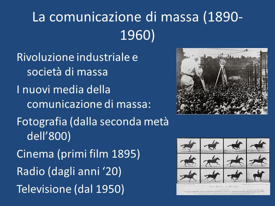 La comunicazione di massa (1890- 1960) Rivoluzione industriale e società di massa I nuovi media della comunicazione di massa: Fotografia (dalla second