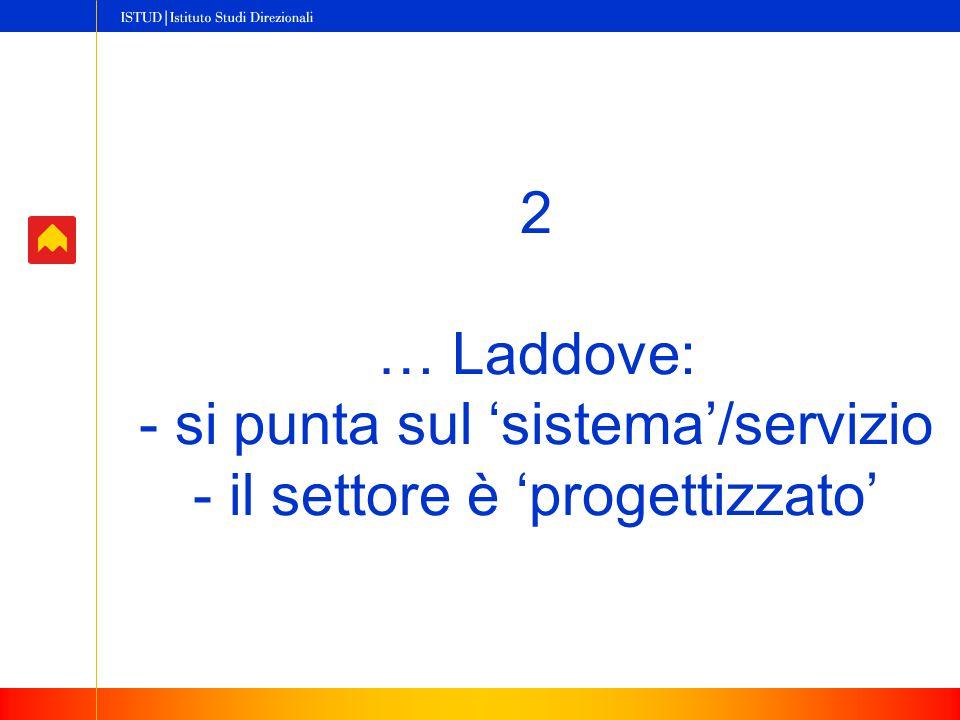 2 … Laddove: - si punta sul 'sistema'/servizio - il settore è 'progettizzato'