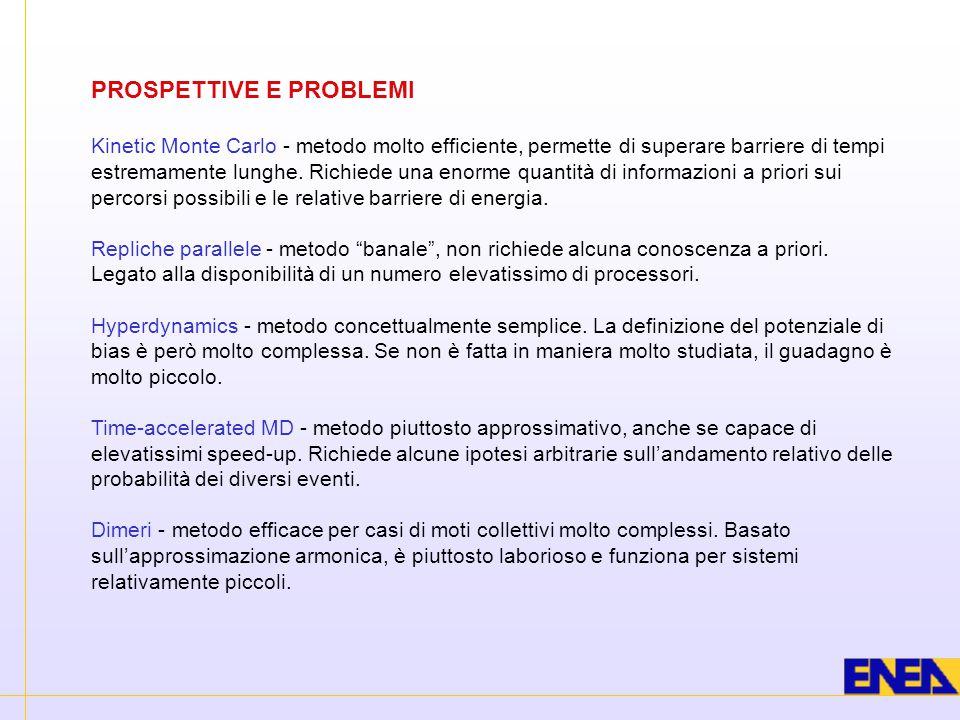 PROSPETTIVE E PROBLEMI Kinetic Monte Carlo - metodo molto efficiente, permette di superare barriere di tempi estremamente lunghe. Richiede una enorme