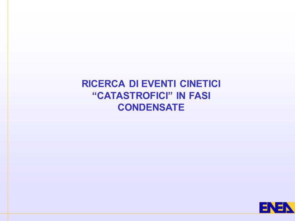 """RICERCA DI EVENTI CINETICI """"CATASTROFICI"""" IN FASI CONDENSATE"""