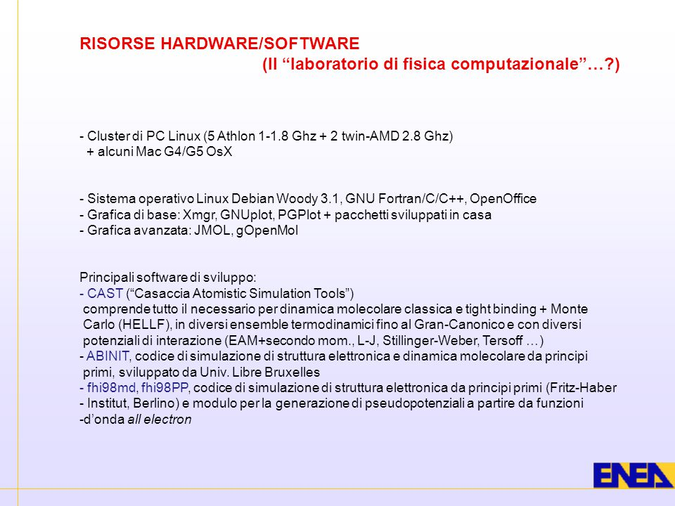 """RISORSE HARDWARE/SOFTWARE (Il """"laboratorio di fisica computazionale""""…?) - Cluster di PC Linux (5 Athlon 1-1.8 Ghz + 2 twin-AMD 2.8 Ghz) + alcuni Mac G"""