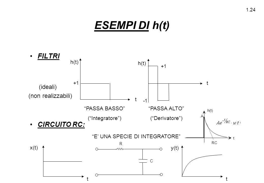 """1.24 ESEMPI DI h(t) FILTRI CIRCUITO RC: (ideali) """"PASSA BASSO"""" (""""Integratore"""") """"PASSA ALTO"""" (""""Derivatore"""") """"E' UNA SPECIE DI INTEGRATORE"""" R C RC h(t)"""