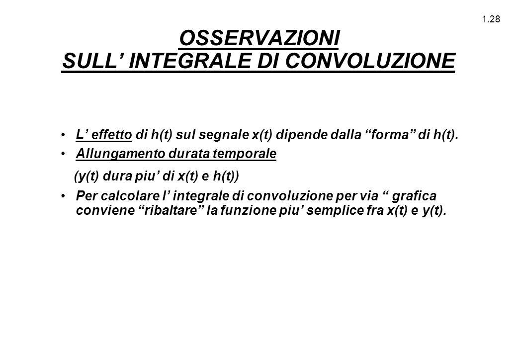 """1.28 OSSERVAZIONI SULL' INTEGRALE DI CONVOLUZIONE L' effetto di h(t) sul segnale x(t) dipende dalla """"forma"""" di h(t). Allungamento durata temporale (y("""