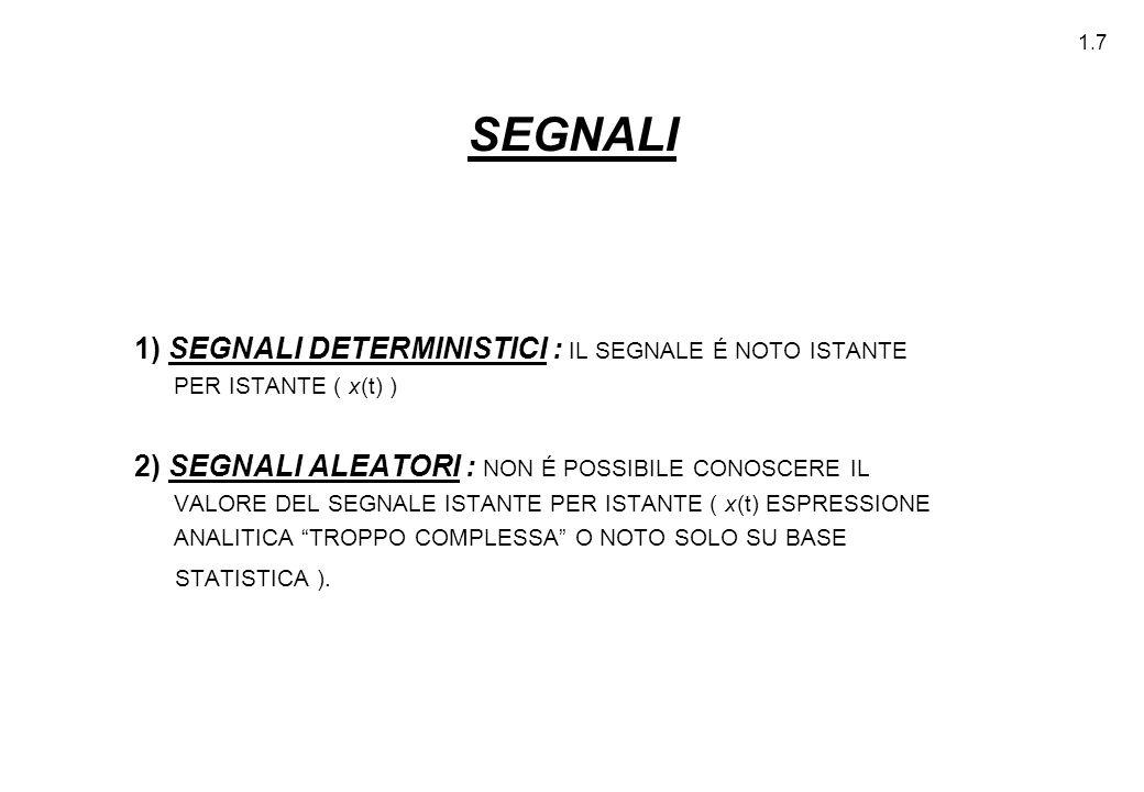 1.7 SEGNALI 1) SEGNALI DETERMINISTICI : IL SEGNALE É NOTO ISTANTE PER ISTANTE ( x(t) ) 2) SEGNALI ALEATORI : NON É POSSIBILE CONOSCERE IL VALORE DEL S