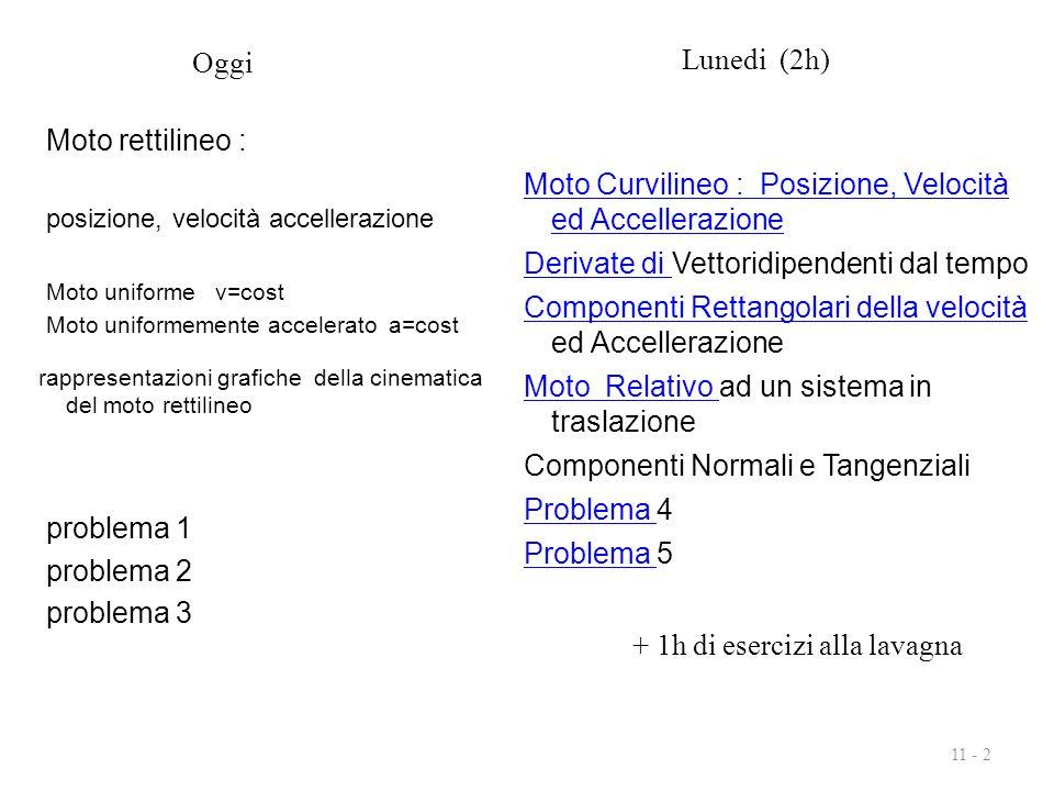 11 - 2 Moto rettilineo : posizione, velocità accellerazione Moto uniforme v=cost Moto uniformemente accelerato a=cost problema 1 problema 2 problema 3