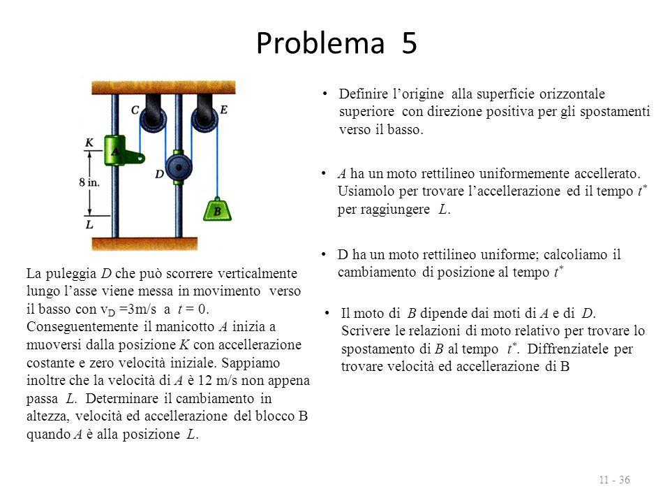 Problema 5 11 - 36 La puleggia D che può scorrere verticalmente lungo l'asse viene messa in movimento verso il basso con v D =3m/s a t = 0.