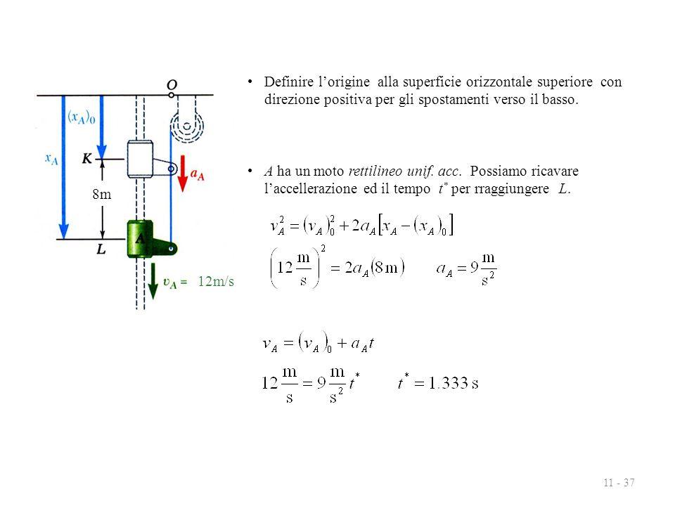 11 - 37 A ha un moto rettilineo unif. acc. Possiamo ricavare l'accellerazione ed il tempo t * per rraggiungere L. Definire l'origine alla superficie o