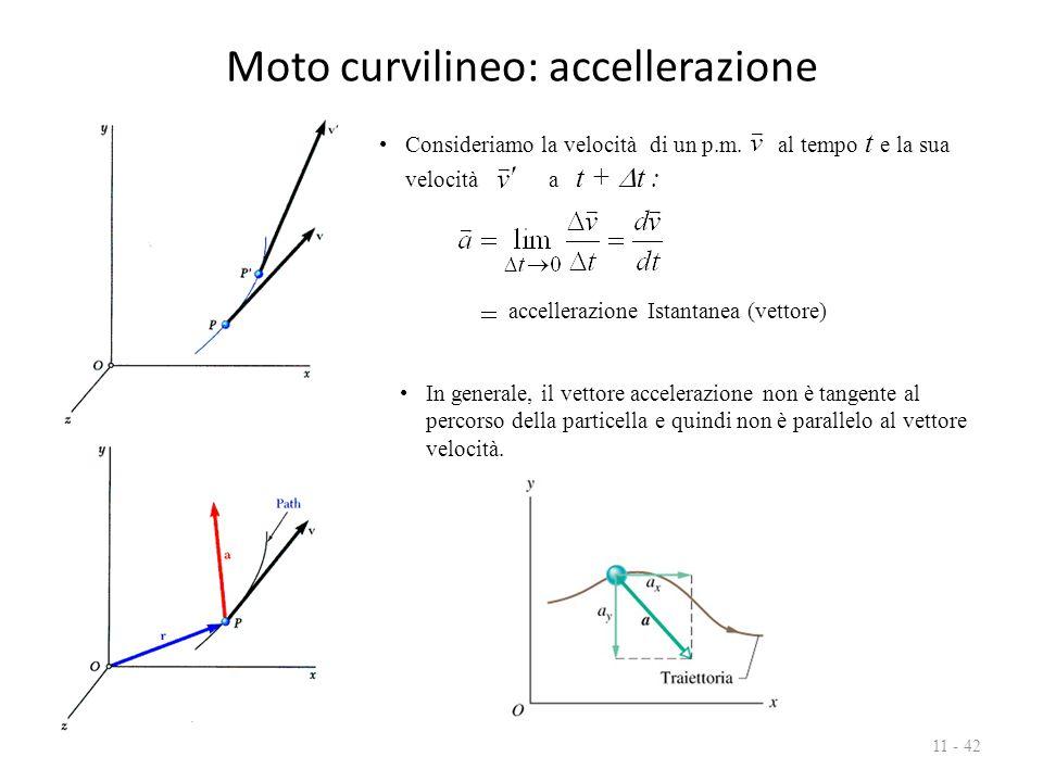 Moto curvilineo: accellerazione 11 - 42 accellerazione Istantanea (vettore) Consideriamo la velocità di un p.m. al tempo t e la sua velocità a t +  t