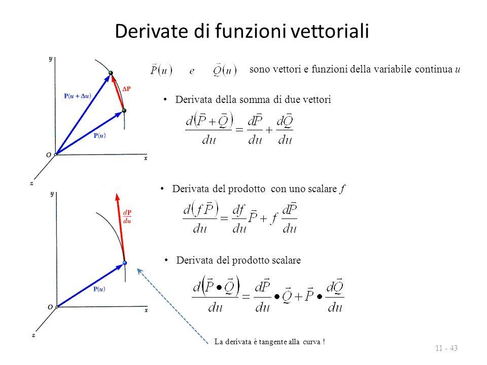 Derivate di funzioni vettoriali 11 - 43 Derivata della somma di due vettori Derivata del prodotto con uno scalare f Derivata del prodotto scalare sono vettori e funzioni della variabile continua u La derivata è tangente alla curva !