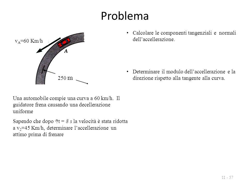 Problema 11 - 57 Una automobile compie una curva a 60 km/h. Il guidatore frena causando una decellerazione uniforme Sapendo che dopo  t = 8 s la velo