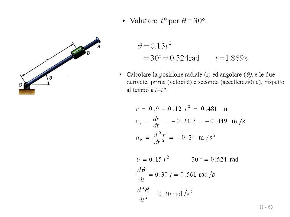 11 - 60 Valutare t* per  = 30 o. Calcolare la posirione radiale (r) ed angolare ( , e le due derivate, prima (velocità) e seconda (accellerazi0ne),