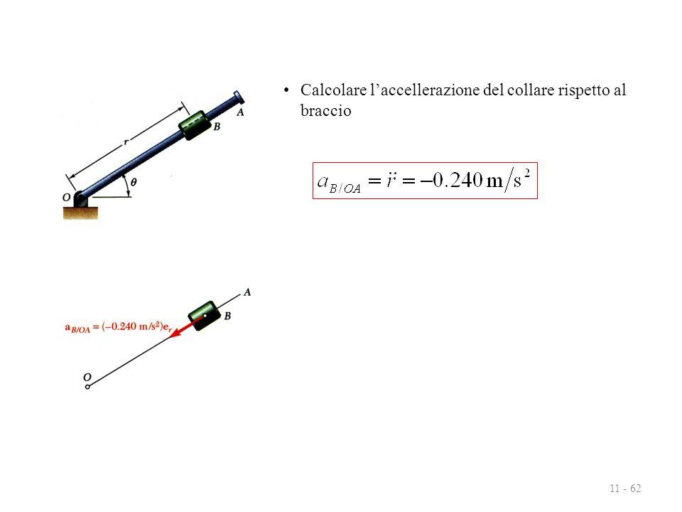 11 - 62 Calcolare l'accellerazione del collare rispetto al braccio