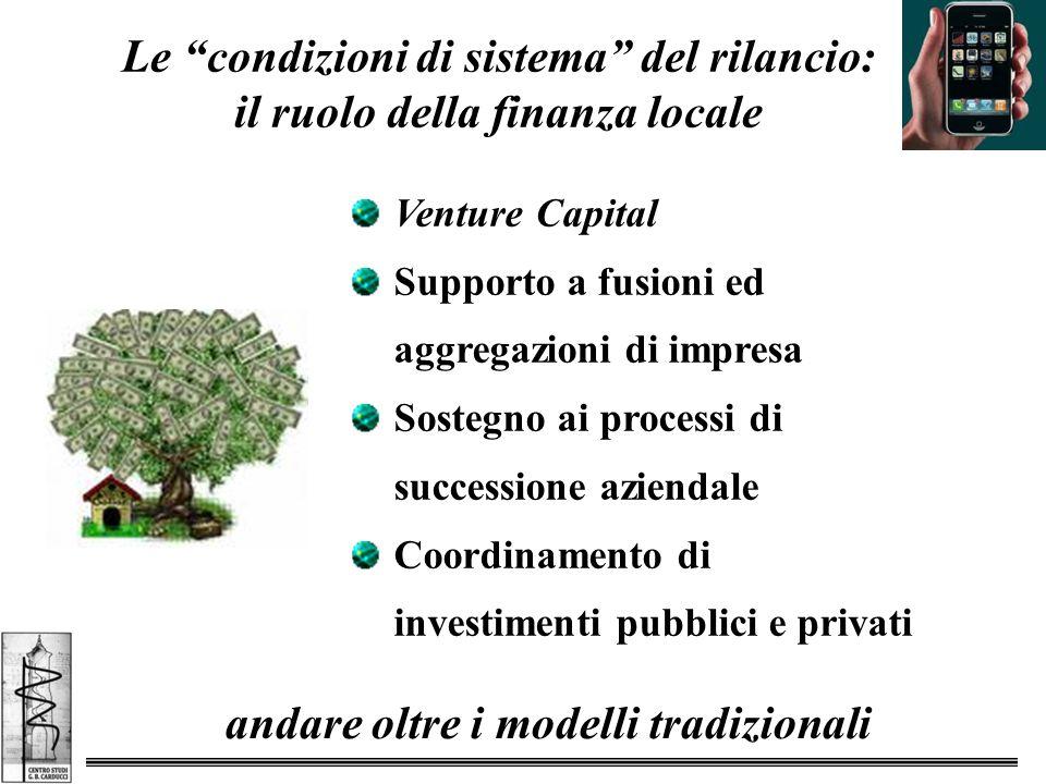 Venture Capital Supporto a fusioni ed aggregazioni di impresa Sostegno ai processi di successione aziendale Coordinamento di investimenti pubblici e privati Le condizioni di sistema del rilancio: il ruolo della finanza locale andare oltre i modelli tradizionali