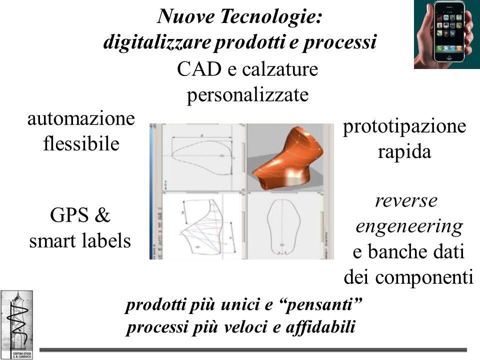 Nuove Tecnologie: digitalizzare prodotti e processi prodotti più unici e pensanti processi più veloci e affidabili CAD e calzature personalizzate prototipazione rapida GPS & smart labels automazione flessibile reverse engeneering e banche dati dei componenti