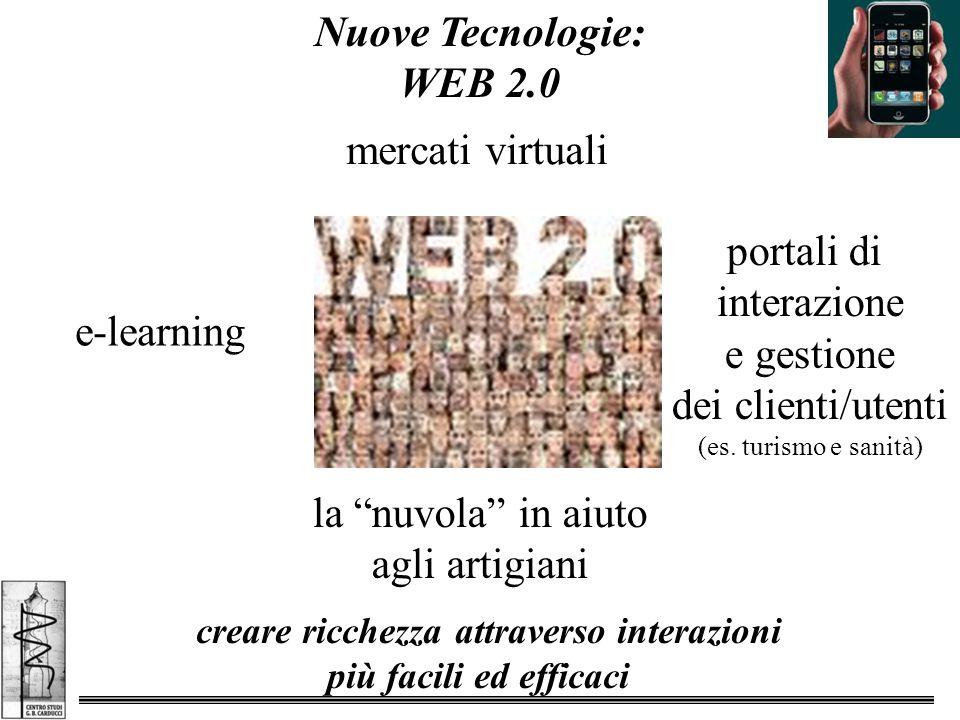 Nuove Tecnologie: WEB 2.0 creare ricchezza attraverso interazioni più facili ed efficaci mercati virtuali portali di interazione e gestione dei clienti/utenti (es.