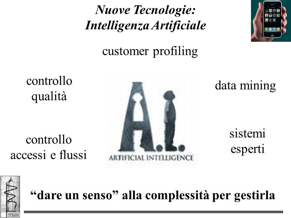 Nuove Tecnologie: Intelligenza Artificiale dare un senso alla complessità per gestirla customer profiling data mining controllo accessi e flussi controllo qualità sistemi esperti