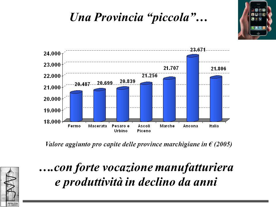 Una Provincia piccola … Valore aggiunto pro capite delle province marchigiane in € (2005) ….con forte vocazione manufatturiera e produttività in declino da anni