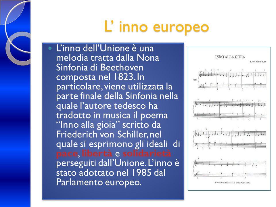 L' inno europeo L'inno dell'Unione è una melodia tratta dalla Nona Sinfonia di Beethoven composta nel 1823. In particolare, viene utilizzata la parte