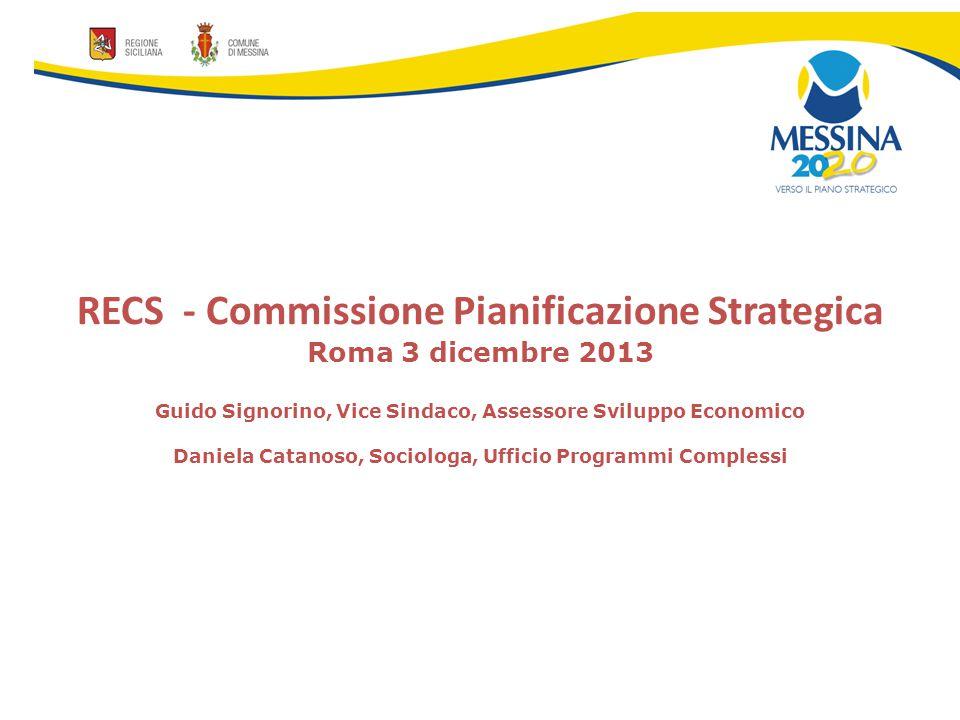 RECS - Commissione Pianificazione Strategica Roma 3 dicembre 2013 Guido Signorino, Vice Sindaco, Assessore Sviluppo Economico Daniela Catanoso, Sociologa, Ufficio Programmi Complessi