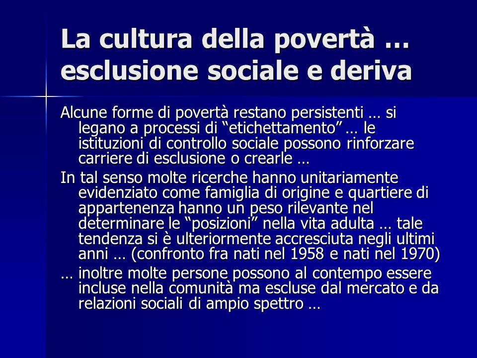 """La cultura della povertà … esclusione sociale e deriva Alcune forme di povertà restano persistenti … si legano a processi di """"etichettamento"""" … le ist"""
