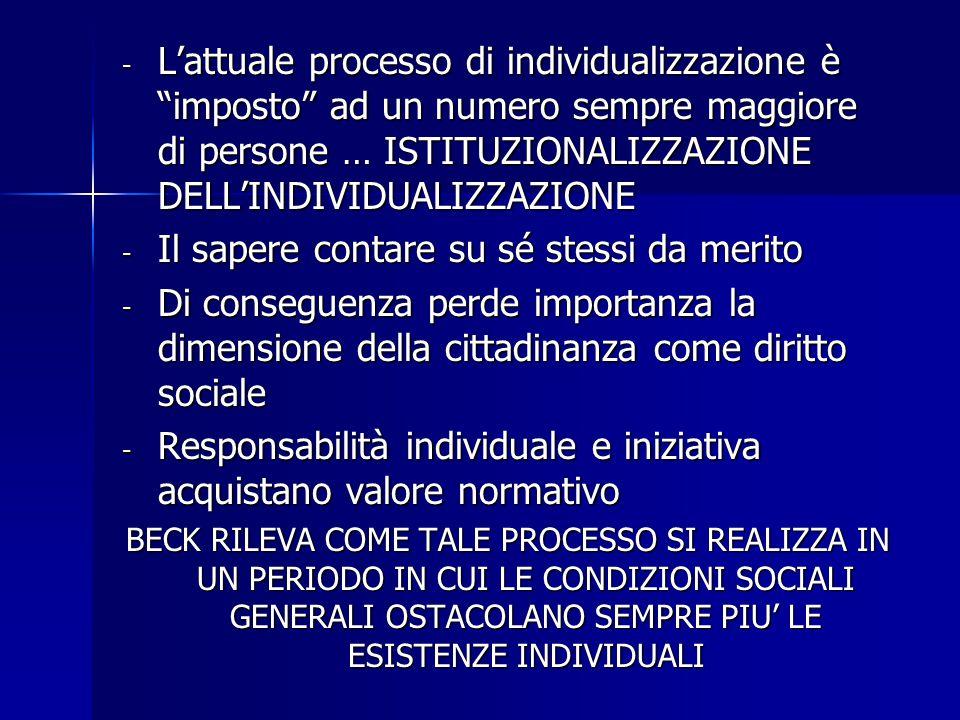 """- L'attuale processo di individualizzazione è """"imposto"""" ad un numero sempre maggiore di persone … ISTITUZIONALIZZAZIONE DELL'INDIVIDUALIZZAZIONE - Il"""