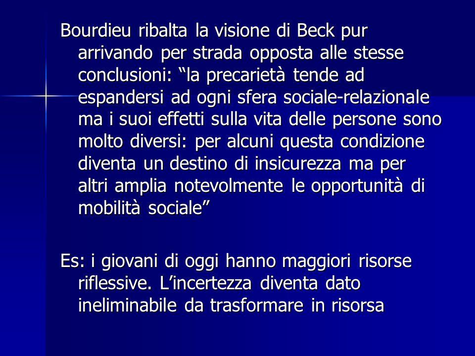 """Bourdieu ribalta la visione di Beck pur arrivando per strada opposta alle stesse conclusioni: """"la precarietà tende ad espandersi ad ogni sfera sociale"""