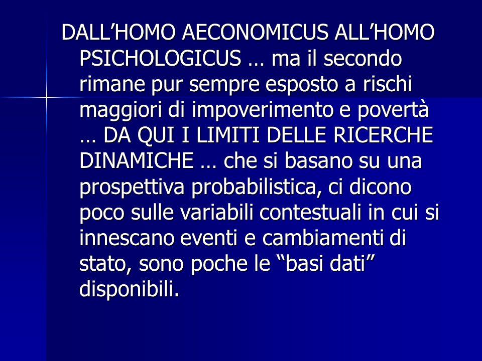 DALL'HOMO AECONOMICUS ALL'HOMO PSICHOLOGICUS … ma il secondo rimane pur sempre esposto a rischi maggiori di impoverimento e povertà … DA QUI I LIMITI