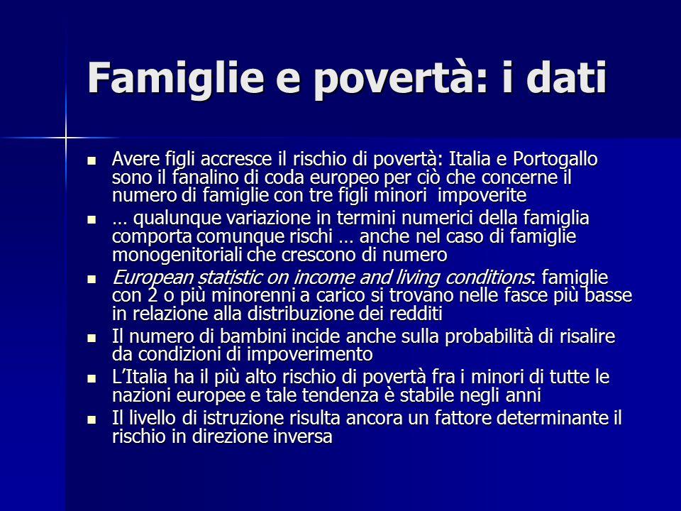 Famiglie e povertà: i dati Avere figli accresce il rischio di povertà: Italia e Portogallo sono il fanalino di coda europeo per ciò che concerne il nu