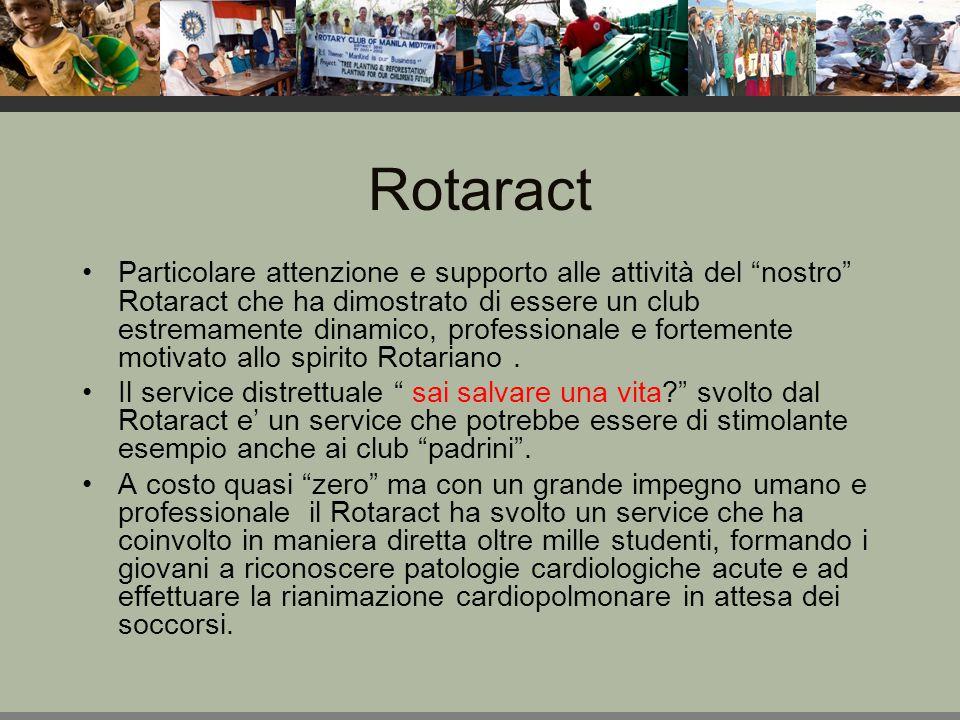 Rotaract Particolare attenzione e supporto alle attività del nostro Rotaract che ha dimostrato di essere un club estremamente dinamico, professionale e fortemente motivato allo spirito Rotariano.