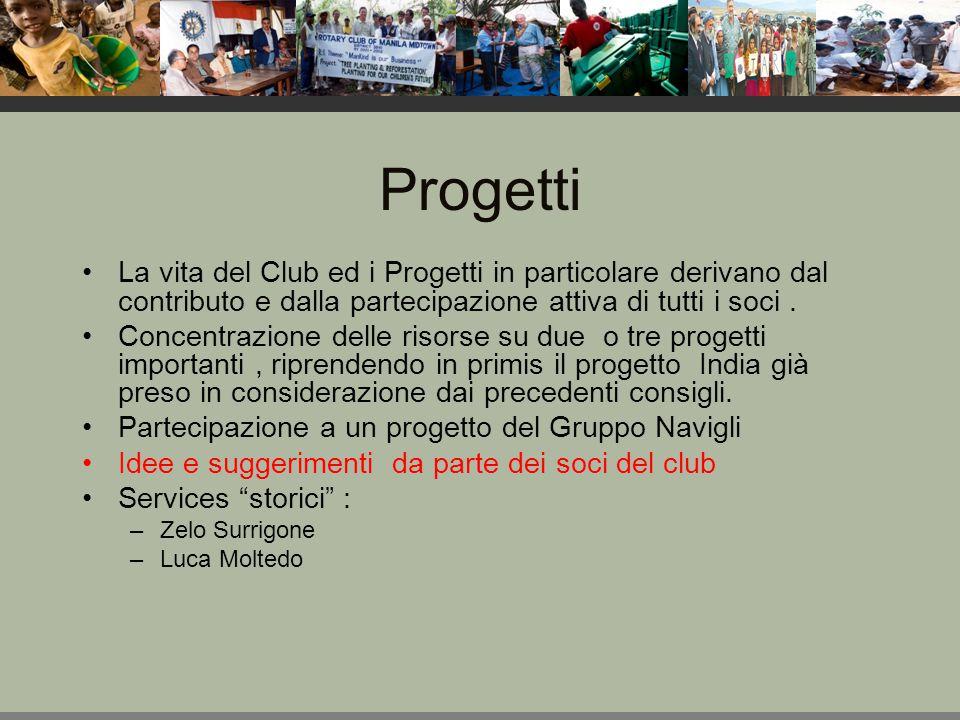 Progetti La vita del Club ed i Progetti in particolare derivano dal contributo e dalla partecipazione attiva di tutti i soci.