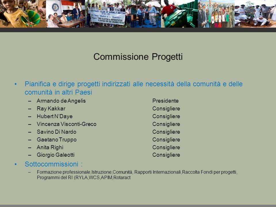 Commissione Pubbliche relazioni Sviluppa e migliora i piani per fornire al pubblico le informazioni sul Rotary e promuove i progetti e le attività di servizio del club.