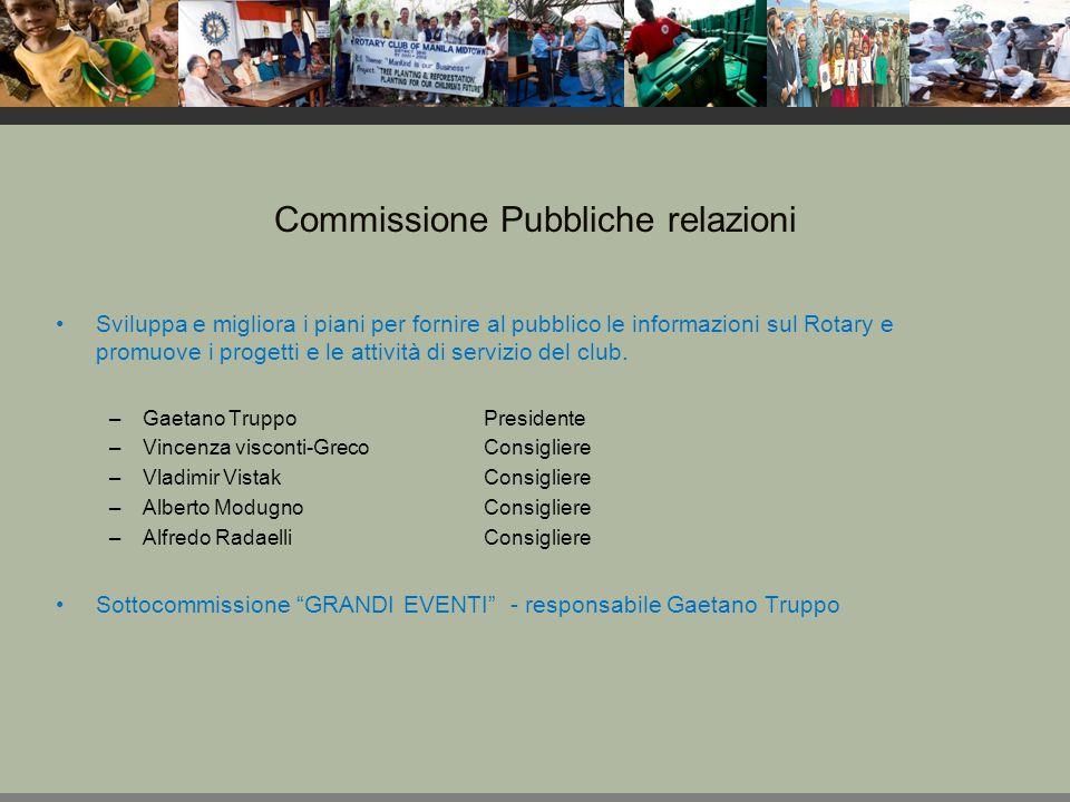 Commissione Fondazione Rotary Supporta la Fondazione sia attraverso contributi finanziari sia attraverso la partecipazione ai programmi.
