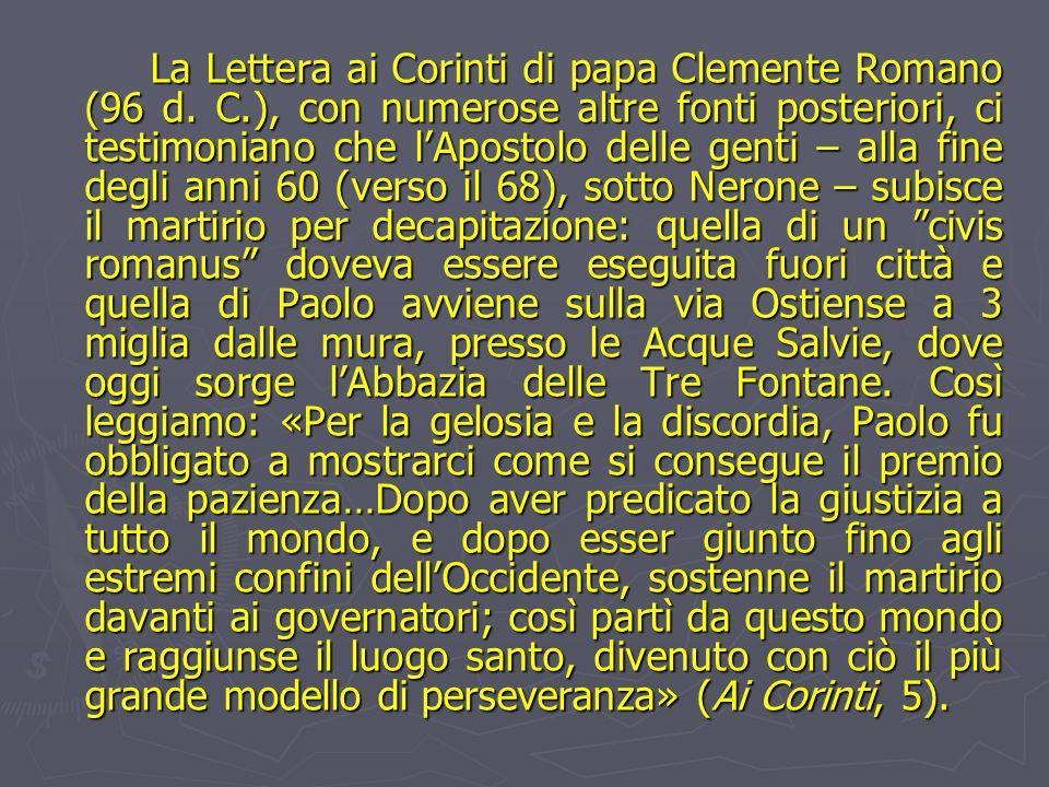 La Lettera ai Corinti di papa Clemente Romano (96 d.