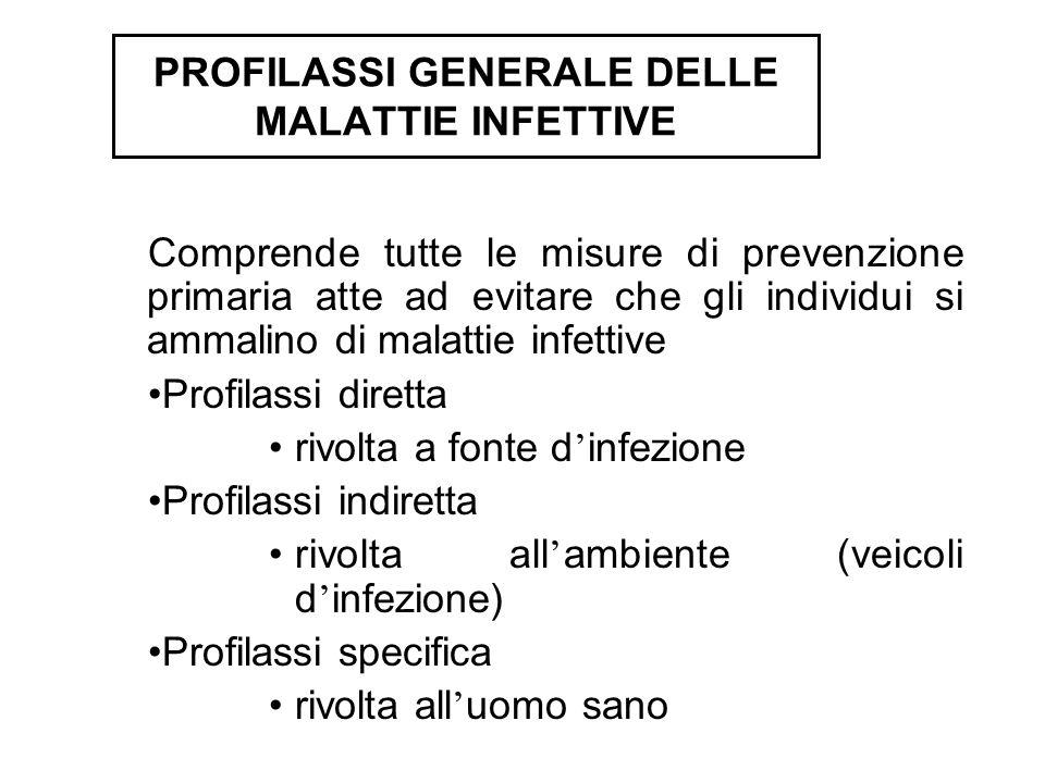 Comprende tutte le misure di prevenzione primaria atte ad evitare che gli individui si ammalino di malattie infettive Profilassi diretta rivolta a fon