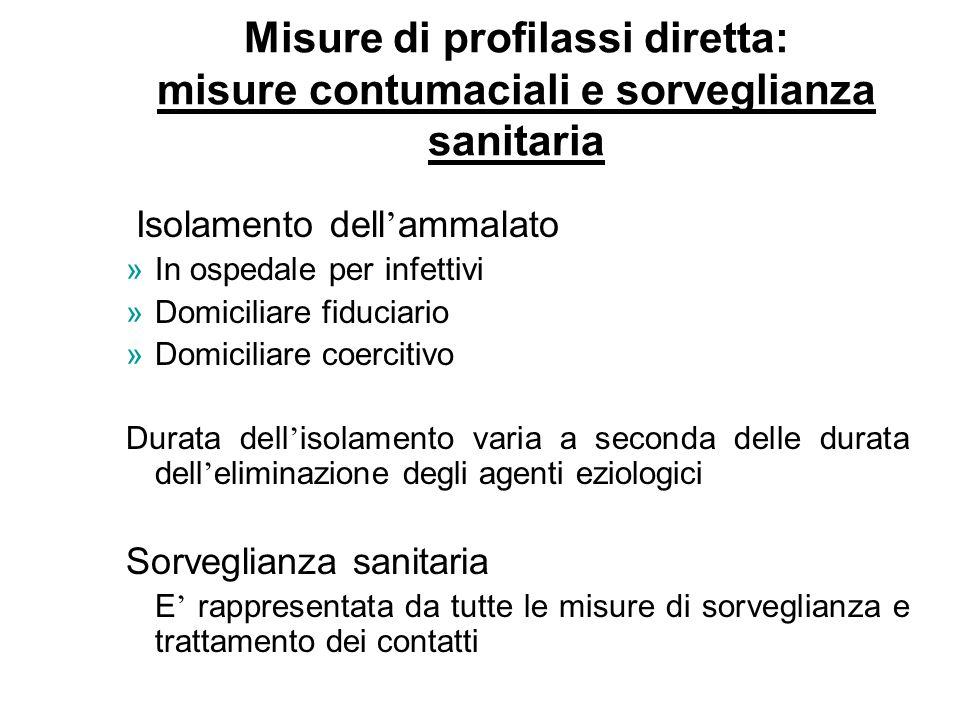 Isolamento dell ' ammalato »In ospedale per infettivi »Domiciliare fiduciario »Domiciliare coercitivo Durata dell ' isolamento varia a seconda delle d
