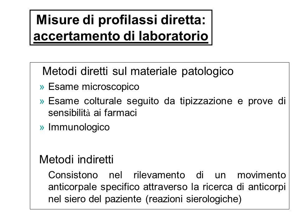 Metodi diretti sul materiale patologico »Esame microscopico »Esame colturale seguito da tipizzazione e prove di sensibilit à ai farmaci »Immunologico