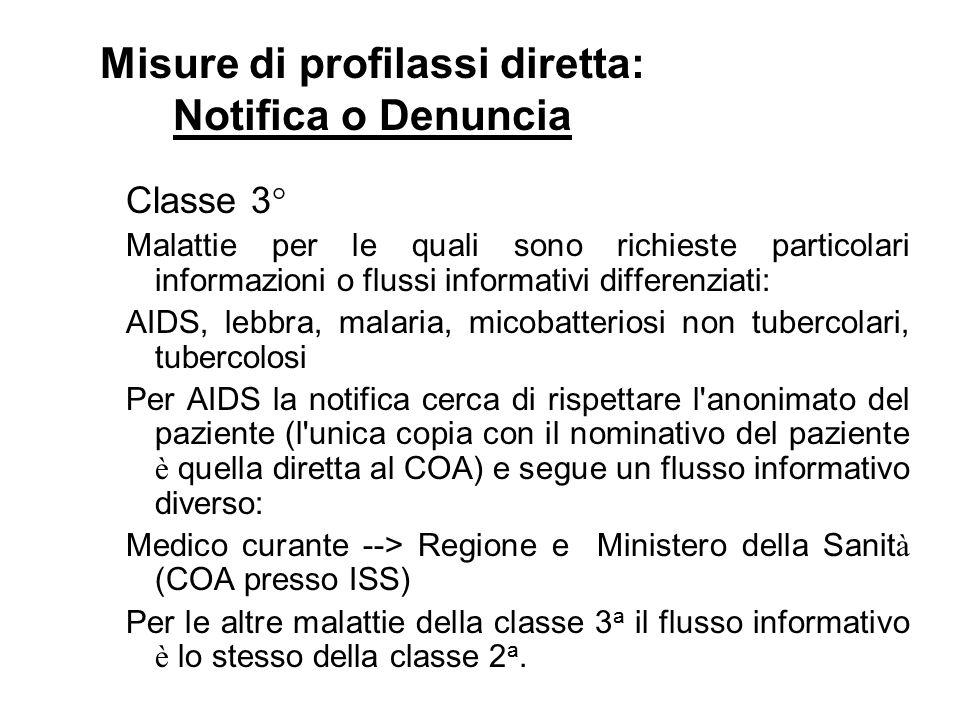 Classe 3° Malattie per le quali sono richieste particolari informazioni o flussi informativi differenziati: AIDS, lebbra, malaria, micobatteriosi non