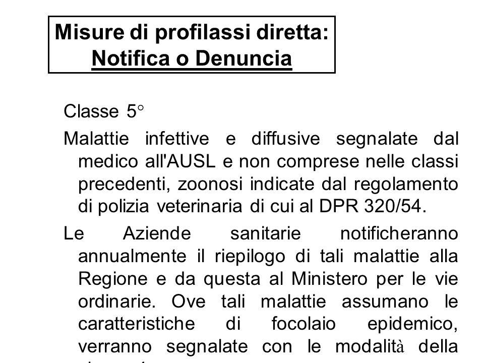Classe 5° Malattie infettive e diffusive segnalate dal medico all'AUSL e non comprese nelle classi precedenti, zoonosi indicate dal regolamento di pol