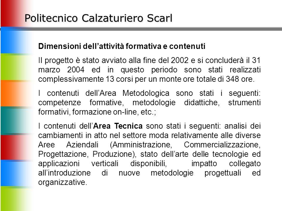 Politecnico Calzaturiero Scarl Dimensioni dell'attività formativa e contenuti Il progetto è stato avviato alla fine del 2002 e si concluderà il 31 mar