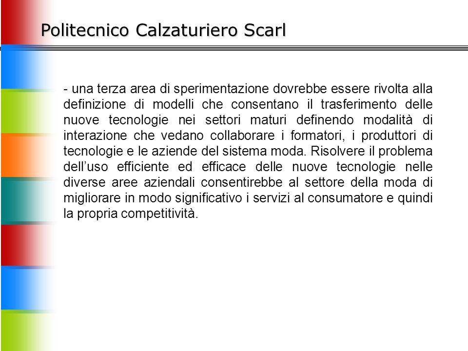 Politecnico Calzaturiero Scarl - una terza area di sperimentazione dovrebbe essere rivolta alla definizione di modelli che consentano il trasferimento