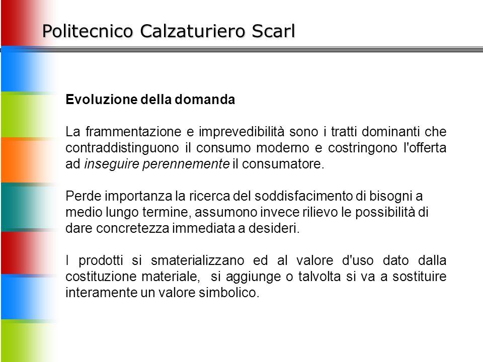 Politecnico Calzaturiero Scarl Evoluzione della domanda La frammentazione e imprevedibilità sono i tratti dominanti che contraddistinguono il consumo