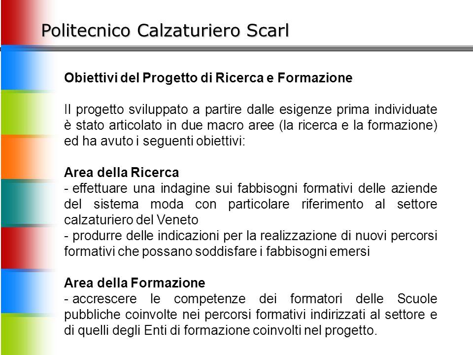 Politecnico Calzaturiero Scarl Obiettivi del Progetto di Ricerca e Formazione Il progetto sviluppato a partire dalle esigenze prima individuate è stat